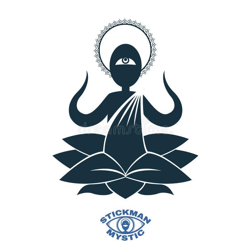 Moine Yoga méditant illustration de vecteur