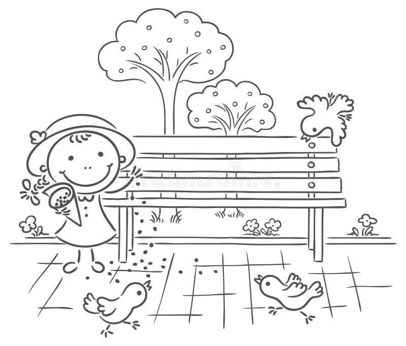 Moineaux de alimentation de fille en parc illustration stock