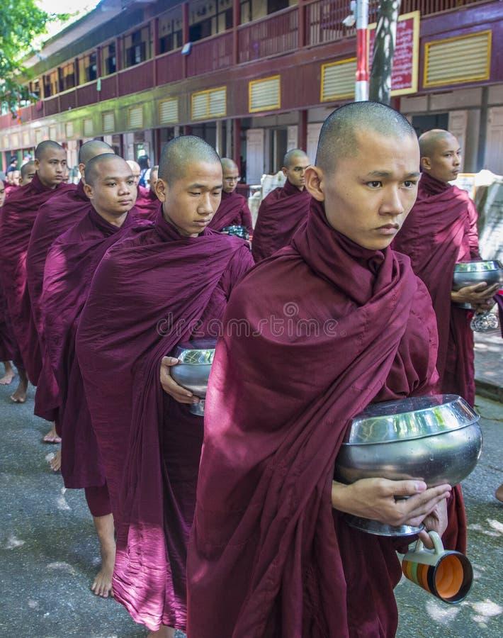Moines au monastère Myanmar de Mahagandayon image stock