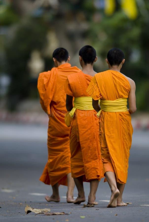Moines bouddhistes 01 de marche photographie stock