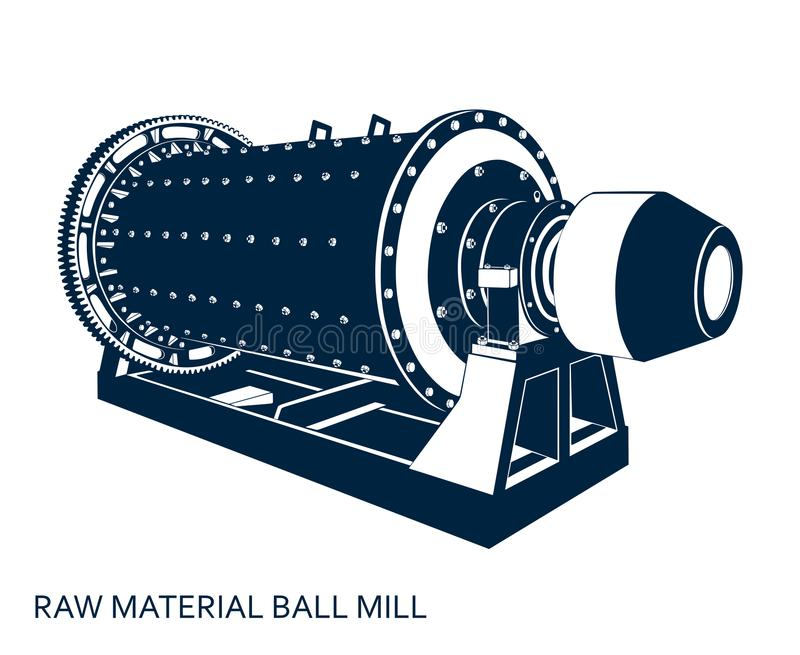 Moinho de bola da matéria prima ilustração royalty free