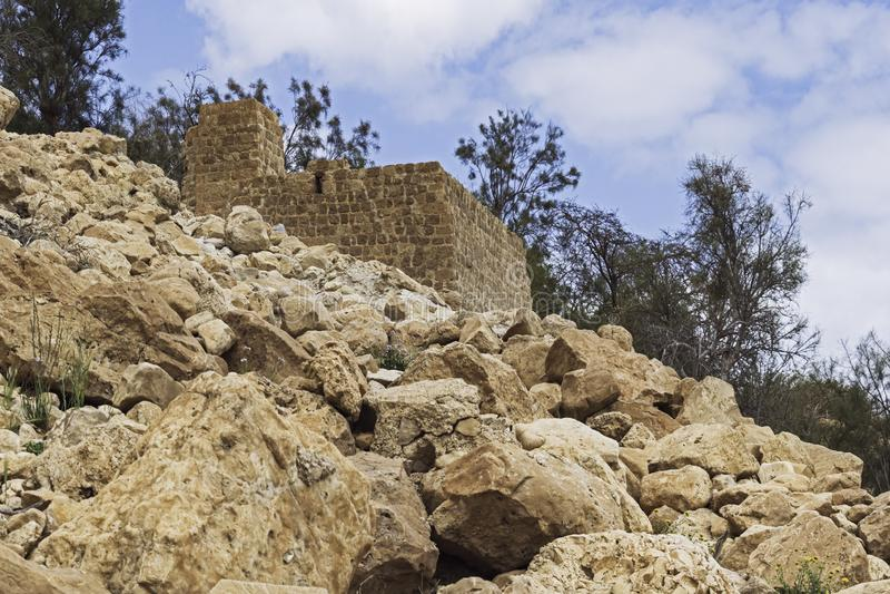 Moinho de farinha da era de Mamluk na mola de Ein Gedi em Israel imagens de stock