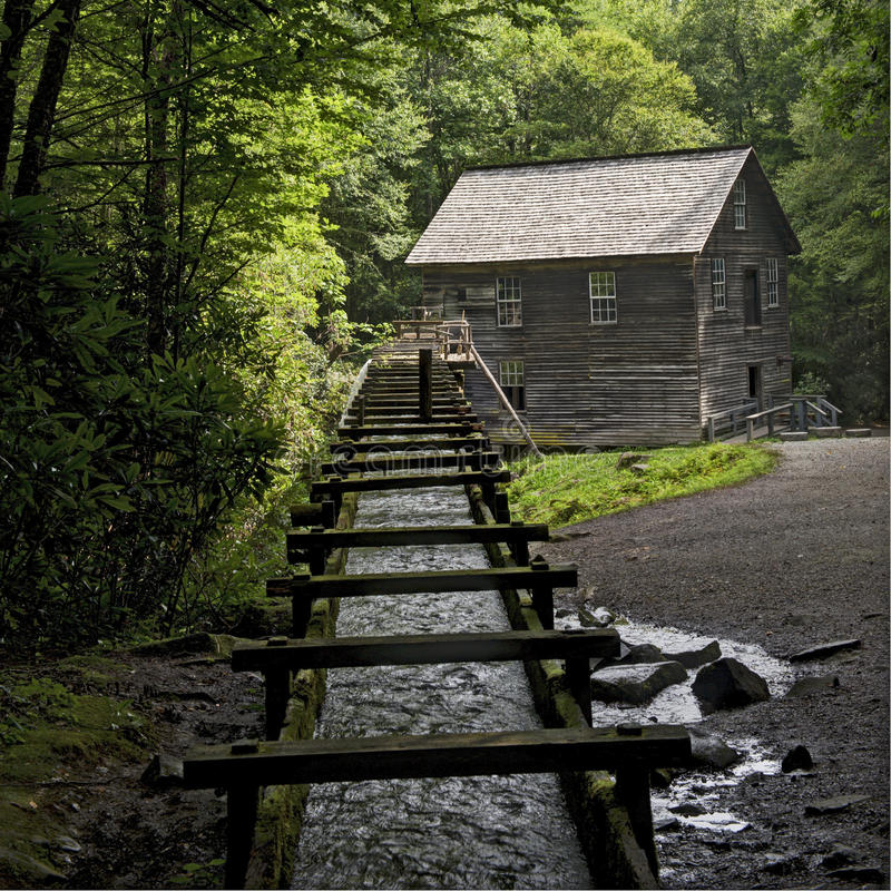 Moinho de Mingus no parque nacional de Great Smoky Mountains fotografia de stock royalty free