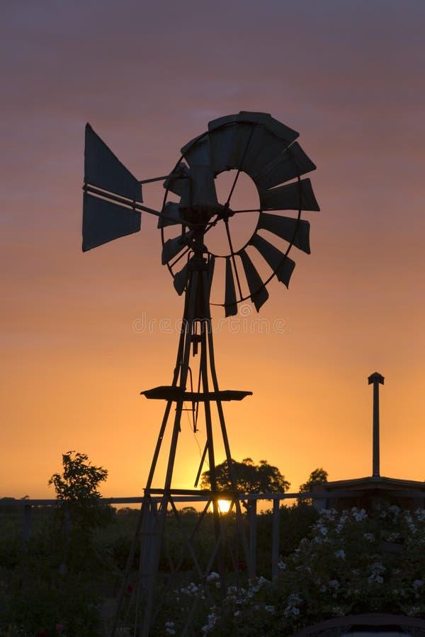 Moinho de vento australiano no por do sol foto de stock