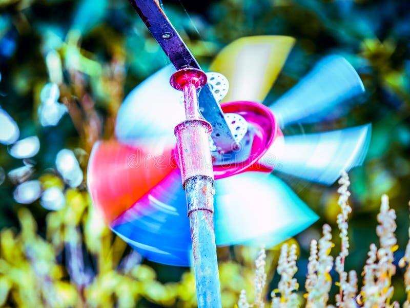 Moinho de vento colorido no jardim fotografia de stock royalty free