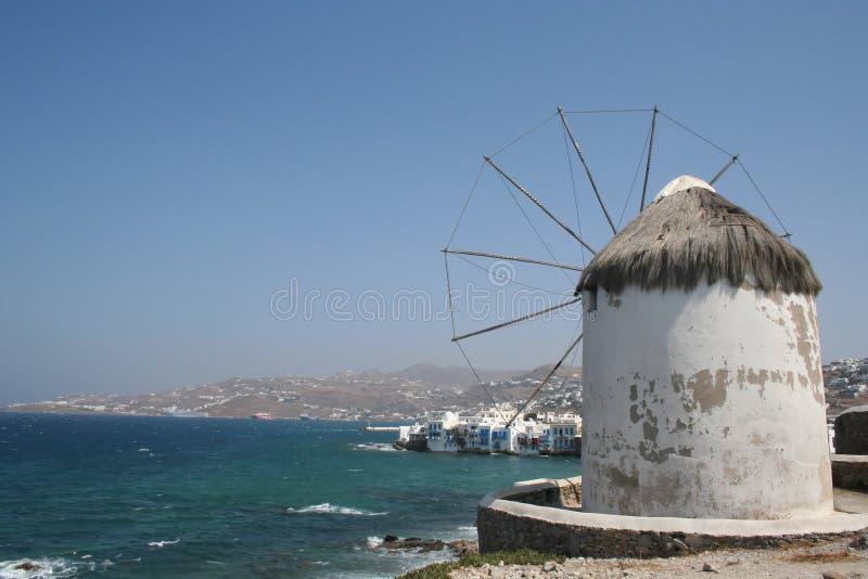 Moinho de vento de Mykonos imagem de stock