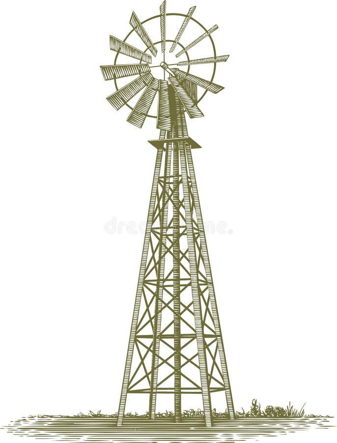 Moinho de vento do bloco xilográfico ilustração royalty free