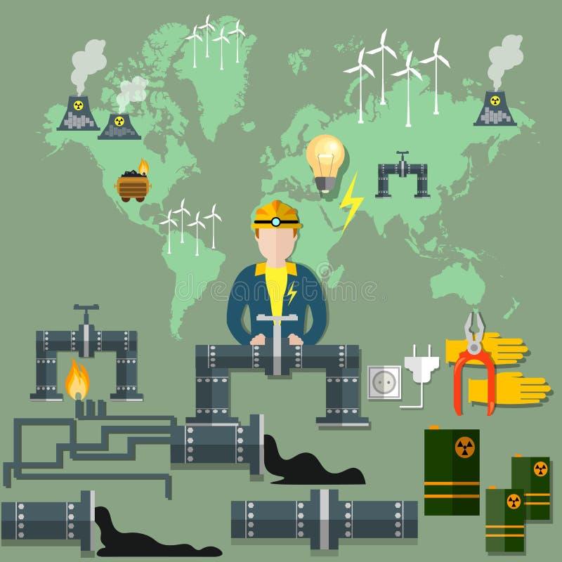 Moinho de vento do encanamento das energias eólicas da energia nuclear das energias mundiais ilustração do vetor