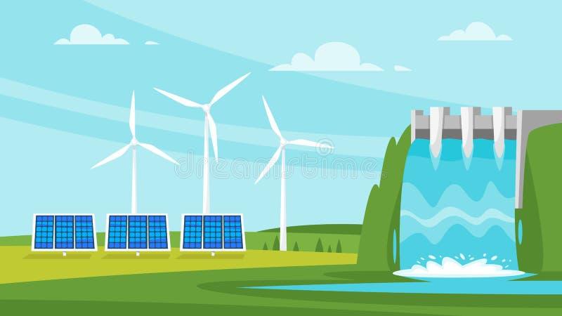 Moinho de vento e painéis solares ilustração royalty free