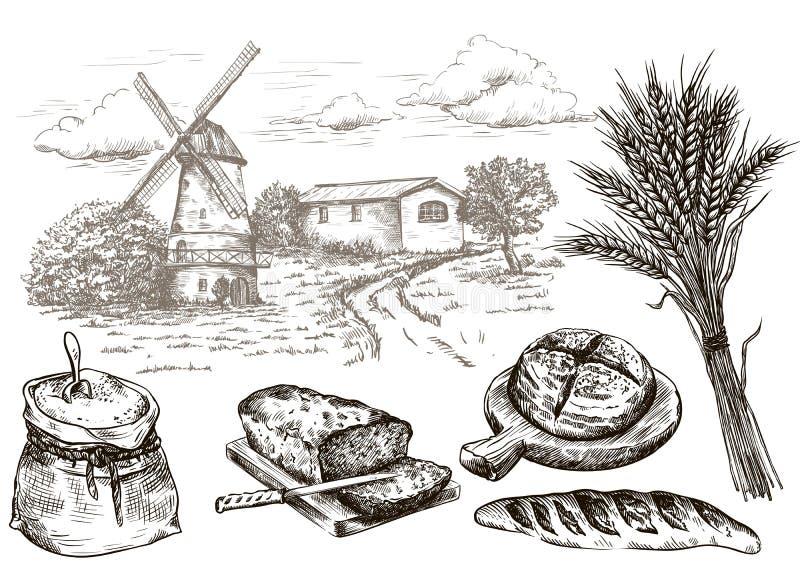 Moinho de vento e produtos frescos da padaria Cozimento caseiro Produtos da padaria Esboço do vetor no branco ilustração royalty free