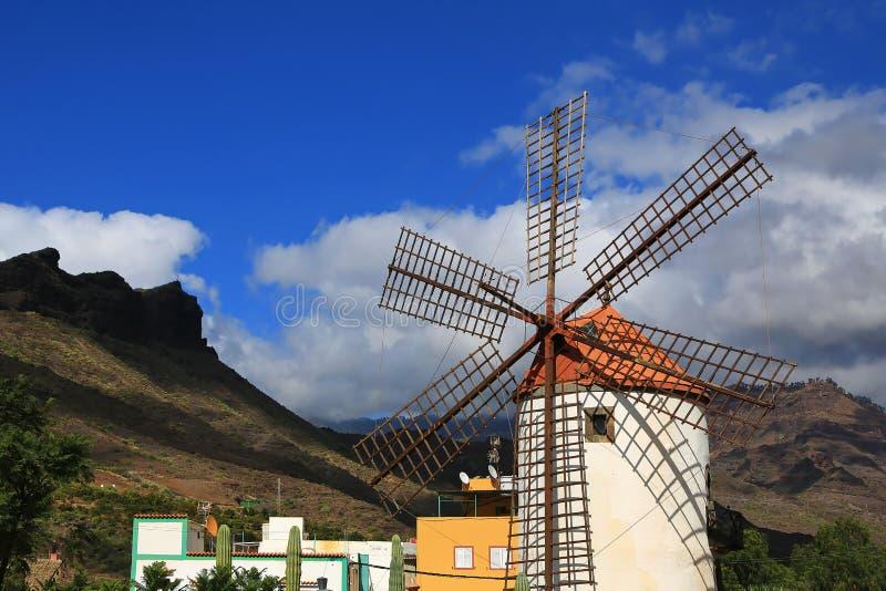 Moinho de vento em Gran Canaria foto de stock