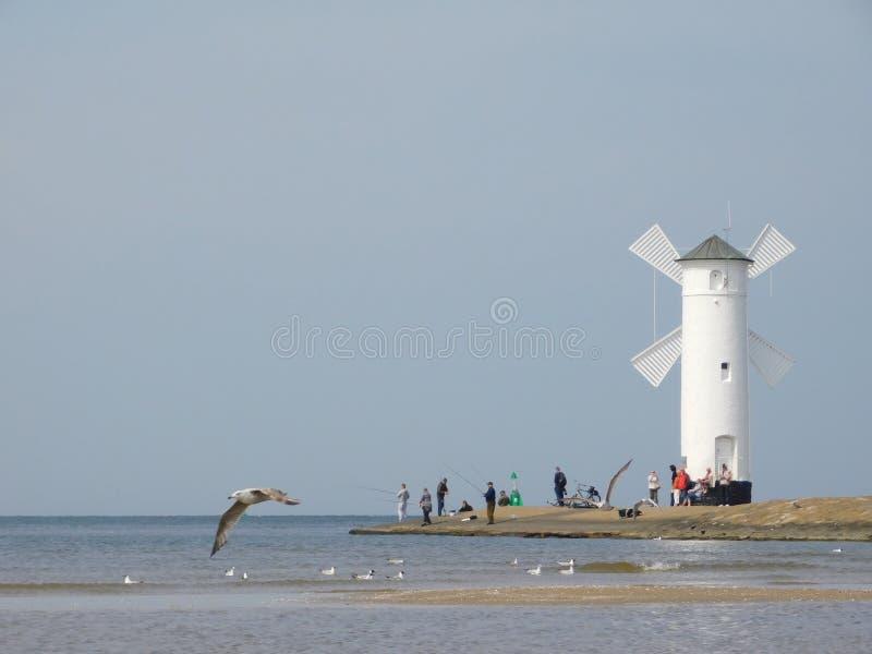 Moinho de vento em Swinoujscie fotos de stock royalty free