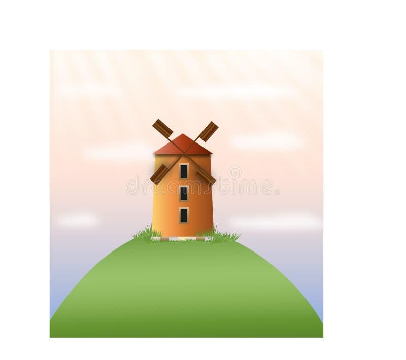 Moinho de vento em um monte fotos de stock royalty free