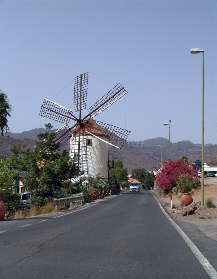 Moinho de vento espanhol (Gran Canaria, Ilhas Canárias) imagens de stock