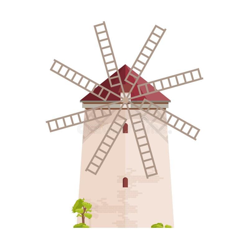 Moinho de vento europeu velho isolado no fundo branco Moinho da blusa, da torre ou do cargo Construção ou construção de exploraçã ilustração royalty free