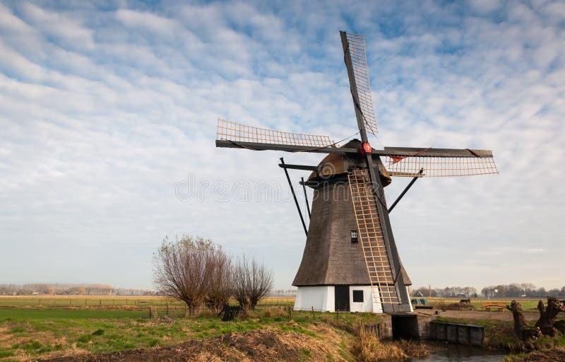 Moinho de vento histórico em uma paisagem holandesa do po'lder fotos de stock