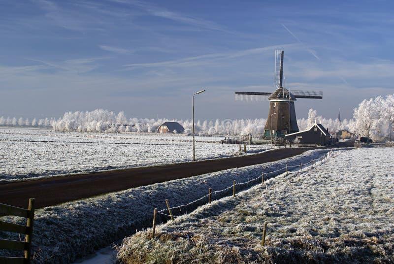 Moinho de vento holandês em uma paisagem do inverno fotografia de stock