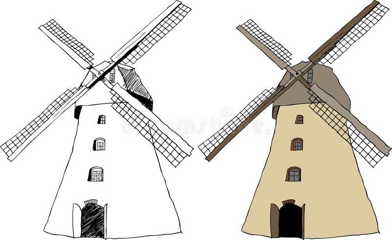 Moinho de vento holandês tradicional ilustração do vetor
