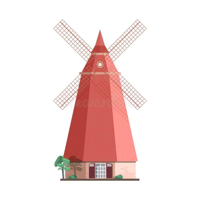 Moinho de vento holandês tradicional isolado no fundo branco Moinho da blusa, da torre ou do cargo Construção ou estrutura agríco ilustração royalty free