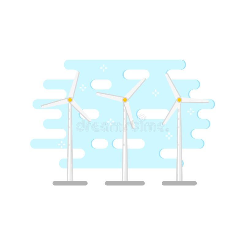 Moinho de vento liso do vetor, turbina eólica ilustração stock