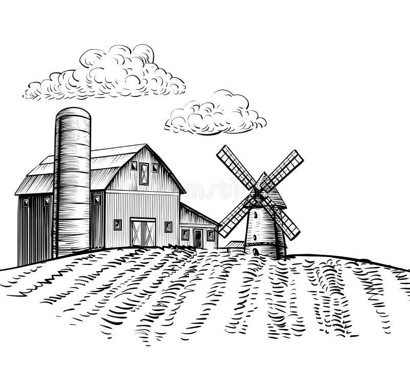 Moinho de vento na ilustração tirada agrícola do estilo do esboço da mão de campo ilustração do vetor