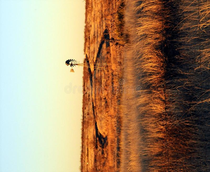 Moinho de vento na pradaria   fotografia de stock