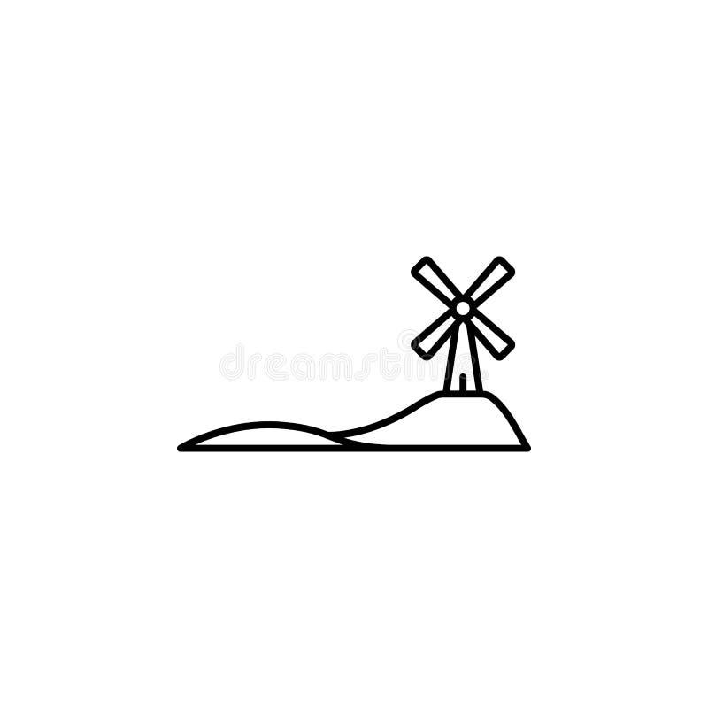 moinho de vento no ícone do campo Elemento do ícone da paisagem para apps móveis do conceito e da Web A linha fina moinho de vent ilustração royalty free