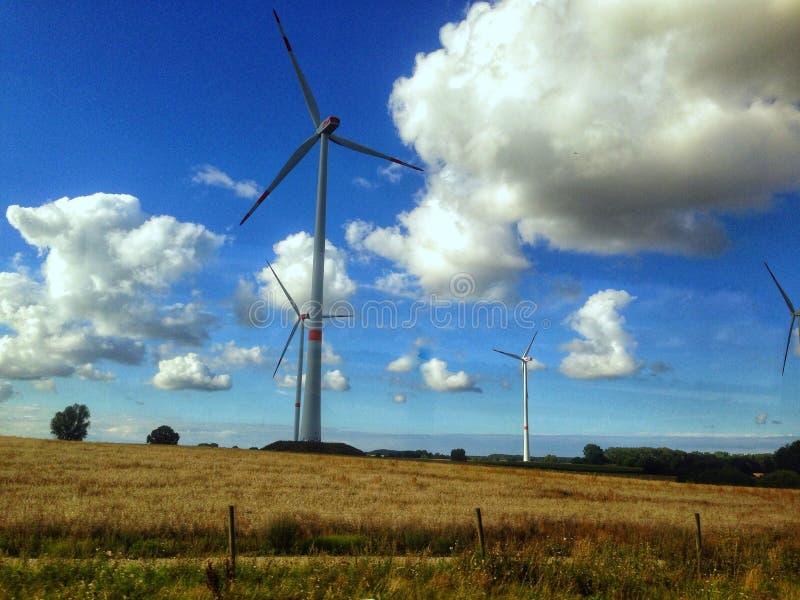 Moinho de vento no campo fotos de stock royalty free