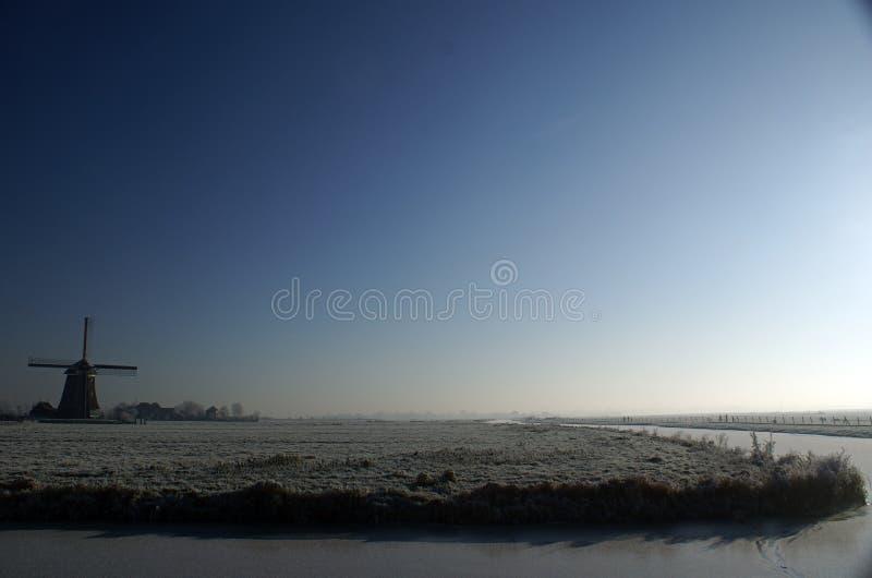 Moinho de vento nos campos fotografia de stock