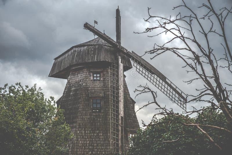 Moinho de vento velho assustador e árvore inoperante imagem de stock