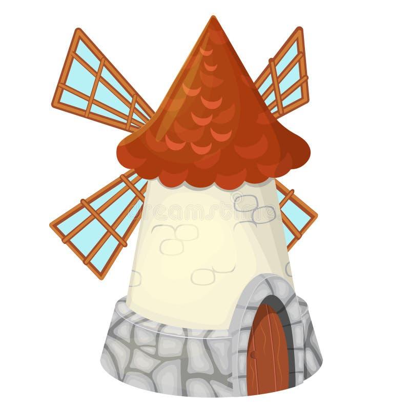 Moinho de vento velho isolado no fundo branco Moinho holand?s da blusa ou da torre Constru??o agr?cola com mecanismo de gerencio ilustração stock