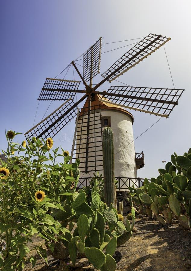 Moinho de vento velho perto da vila de Mogan, canário grande imagens de stock royalty free