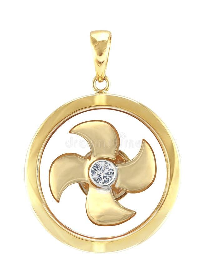 Moinho do pendente do ouro da porcelana fotografia de stock royalty free