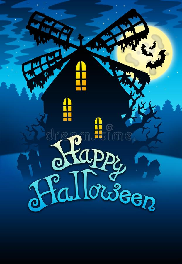 Moinho misterioso 1 de Halloween ilustração do vetor