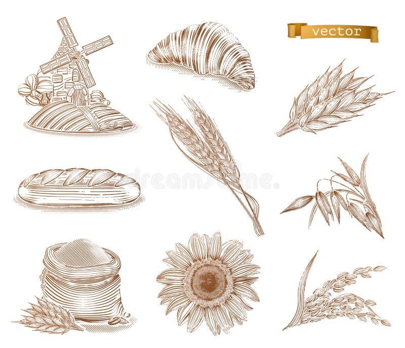 Moinho, pão e trigo Grupo do ícone do vetor da gravura ilustração stock