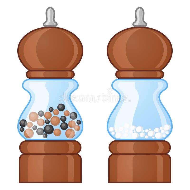 Moinhos de sal e de pimenta ilustração royalty free