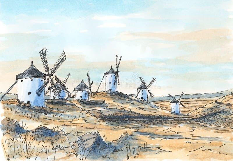 Moinhos de vento antiquados espanhóis em Consuegra, Castile ilustração royalty free