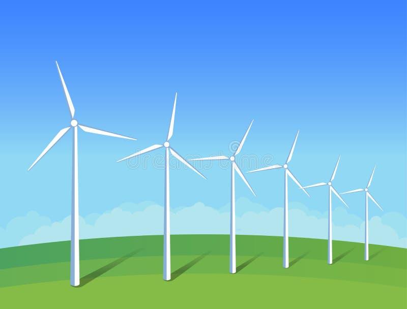 Moinhos de vento bondes no campo de grama verde no céu azul do fundo Ilustração ambiental da ecologia para apresentações, Web sit ilustração royalty free