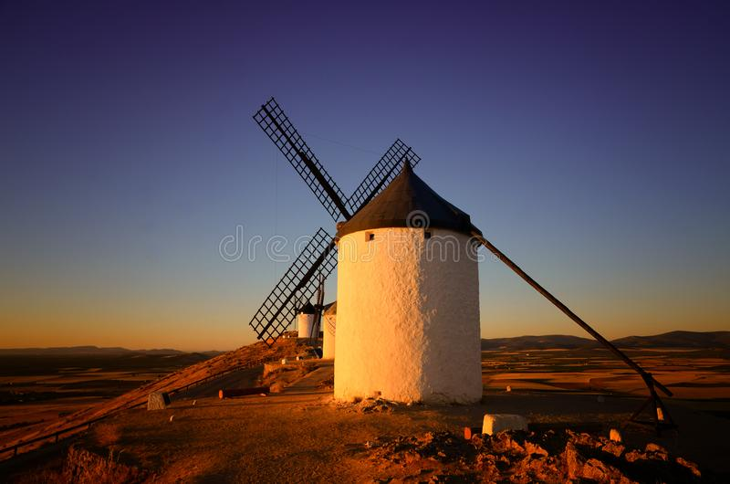Moinhos de vento Consuegra de Don Quixote, Toledo Spain fotografia de stock royalty free