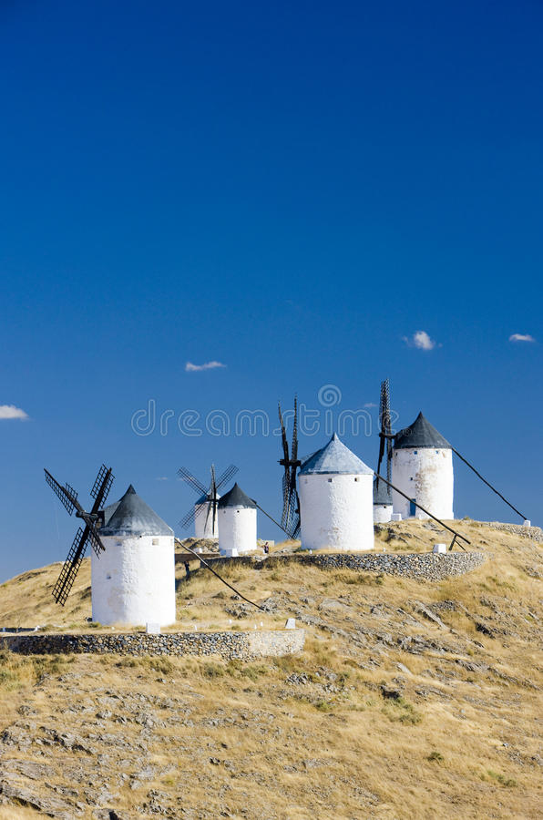 Moinhos de vento de Consuegra foto de stock