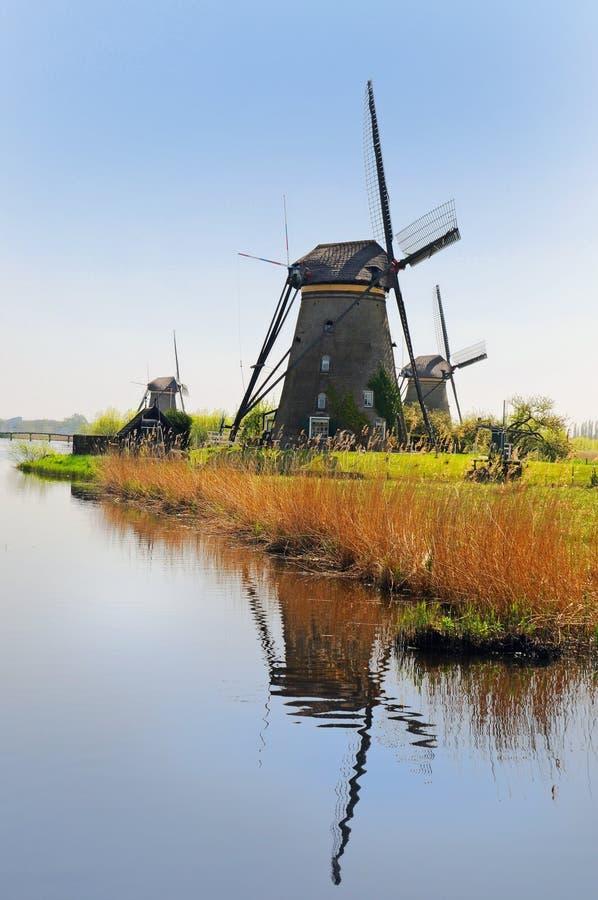 Moinhos de vento de Kinderdijk fotos de stock royalty free