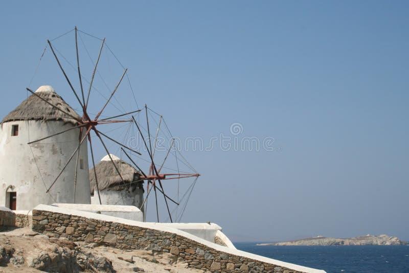 Moinhos de vento de Mykonos foto de stock