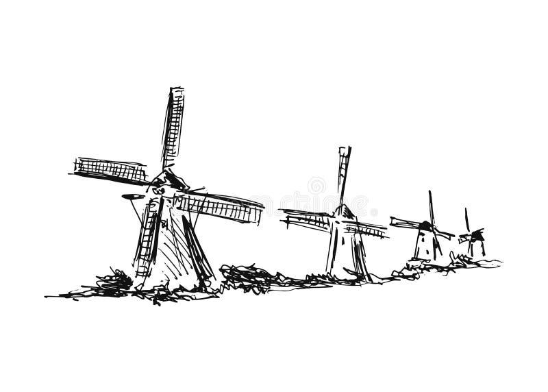 Moinhos de vento do desenho da mão ilustração royalty free