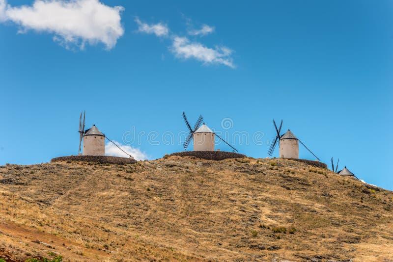 Moinhos de vento do ` s de Don Quixote na Espanha de Consuegra foto de stock royalty free