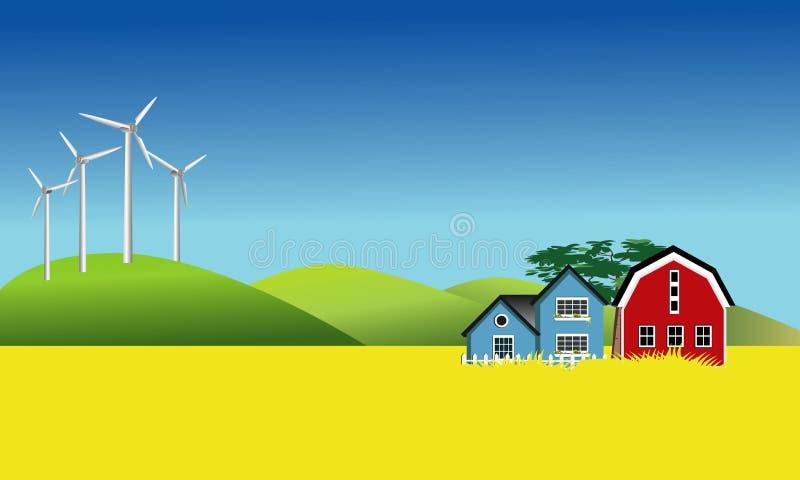 Moinhos de vento e campo de Canola ilustração royalty free