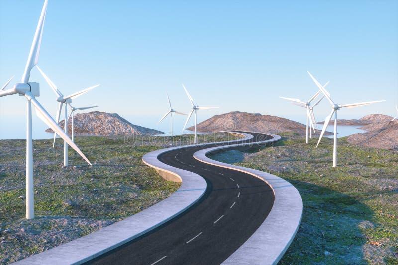 Moinhos de vento e estrada de enrolamento no aberto, rendi??o 3d fotos de stock royalty free