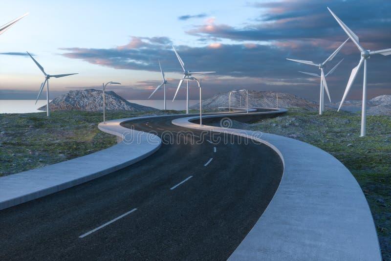 Moinhos de vento e estrada de enrolamento no aberto, rendi??o 3d fotografia de stock