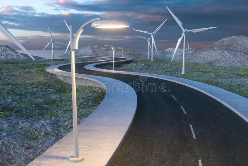 Moinhos de vento e estrada de enrolamento no aberto, rendi??o 3d fotos de stock