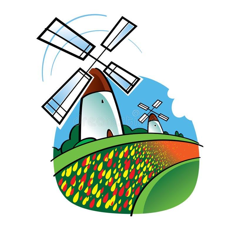 Moinhos de vento e flores holandeses dos Tulips ilustração do vetor