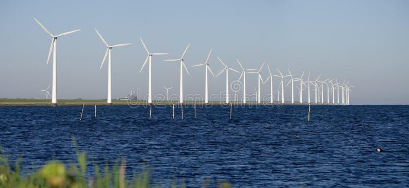 Moinhos de vento em um dique holandês foto de stock